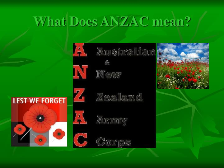 What Does ANZAC mean?