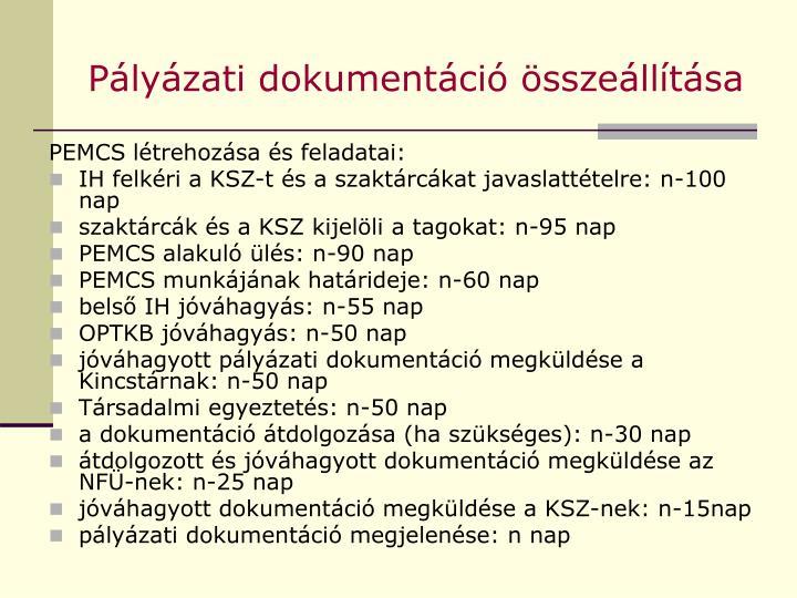 Pályázati dokumentáció összeállítása