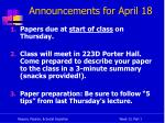 announcements for april 18