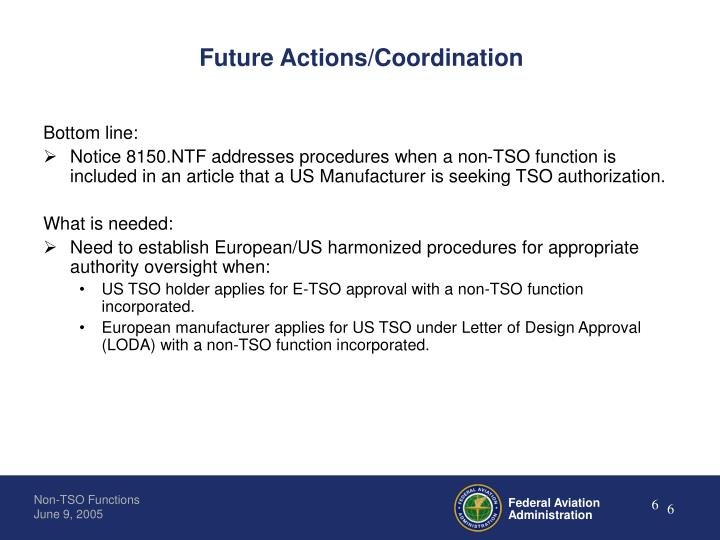 Future Actions/Coordination