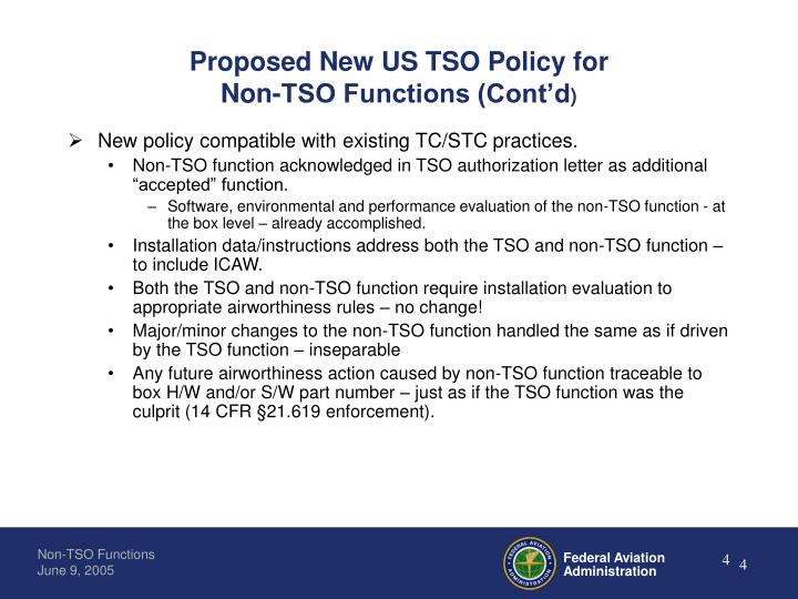 Proposed New US TSO Policy for