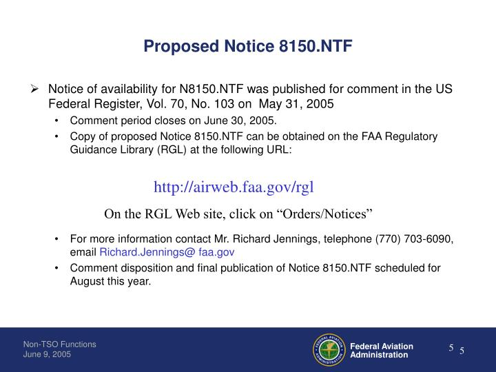 Proposed Notice 8150.NTF