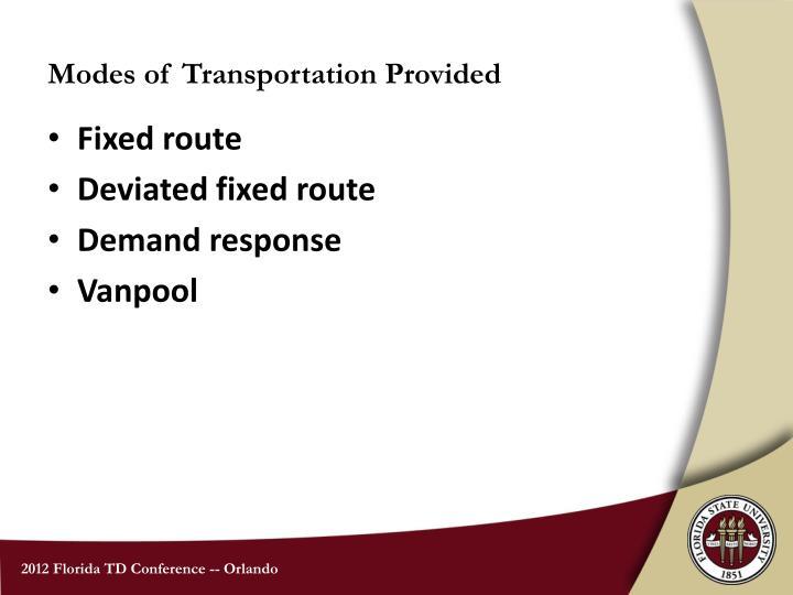 Modes of Transportation Provided