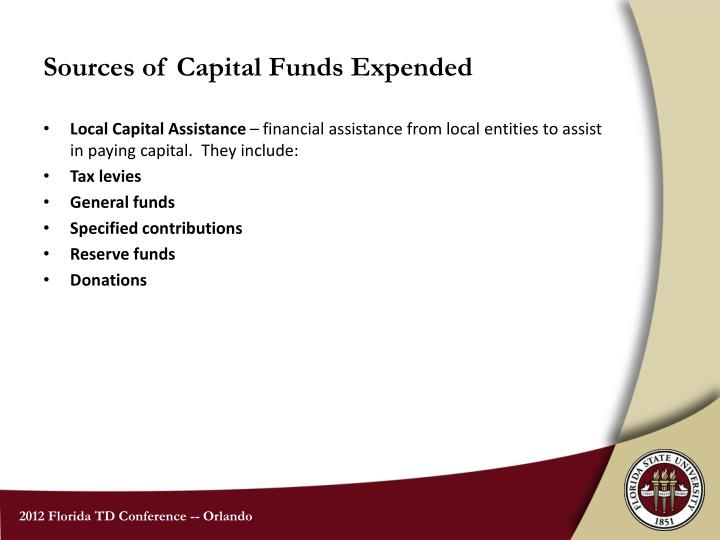 Sources of Capital Funds Expended