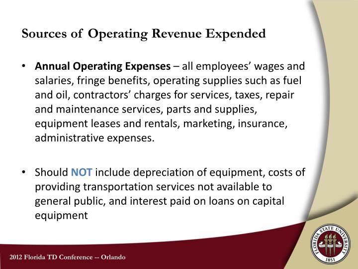 Sources of operating revenue expended