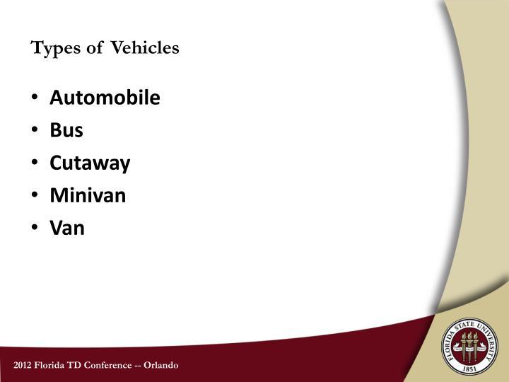 Types of Vehicles
