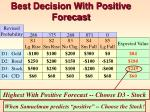 best decision with positive forecast