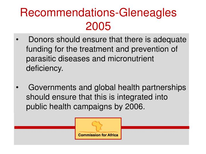 Recommendations-Gleneagles 2005