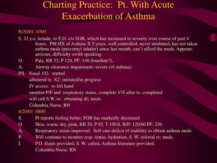 Charting Practice:  Pt. With Acute Exacerbation of Asthma
