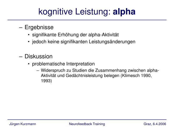 kognitive Leistung: