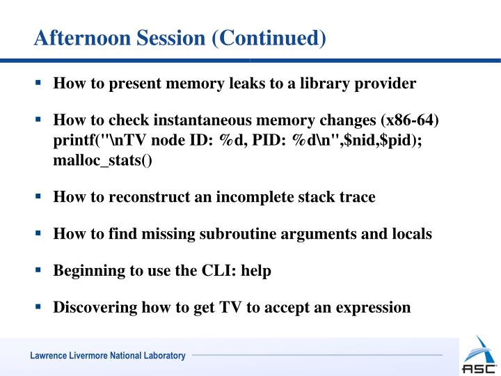 Afternoon Session (Continued)