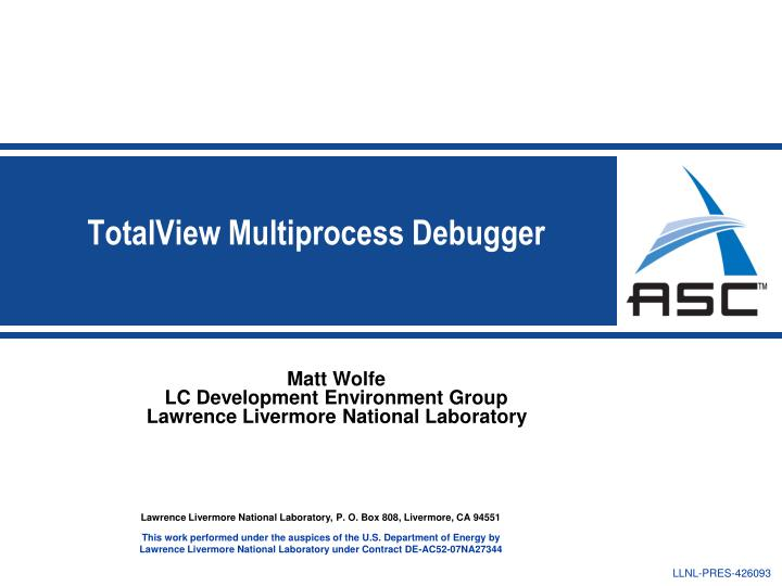 Totalview multiprocess debugger
