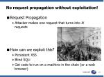 no request propagation without exploitation
