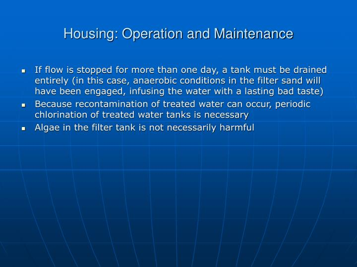 Housing: Operation and Maintenance