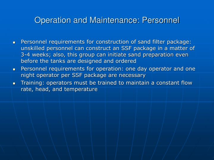 Operation and Maintenance: Personnel