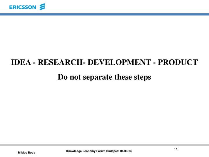 IDEA - RESEARCH- DEVELOPMENT - PRODUCT