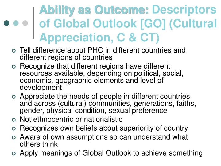 Ability as outcome descriptors of global outlook go cultural appreciation c ct