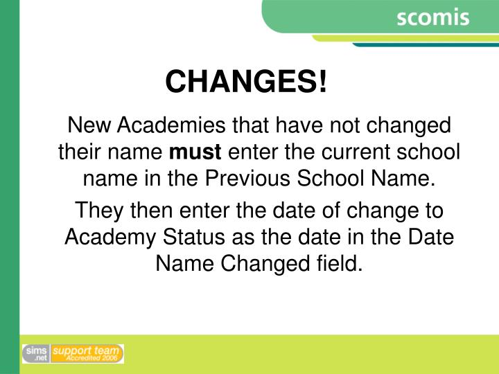 CHANGES!