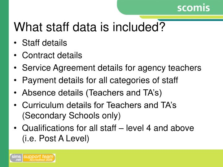 What staff data is included?