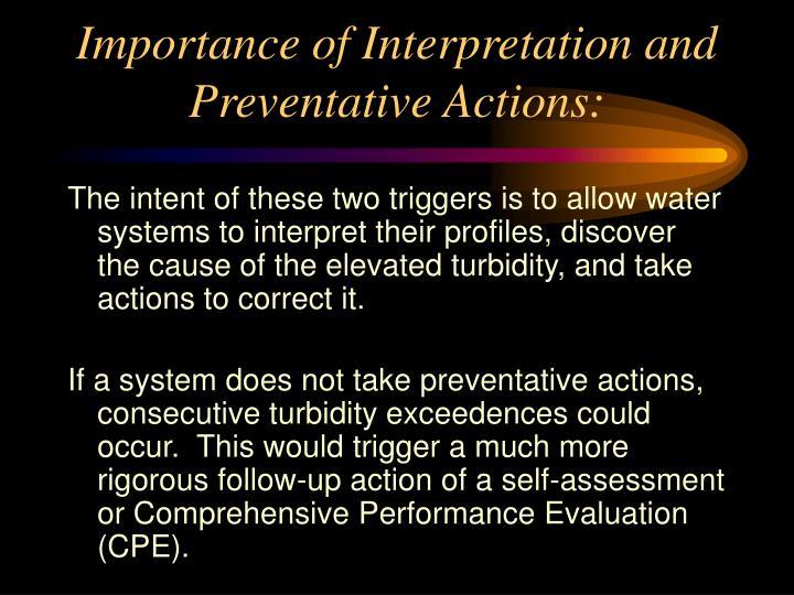 Importance of interpretation and preventative actions