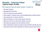 results internet poker typical player profile