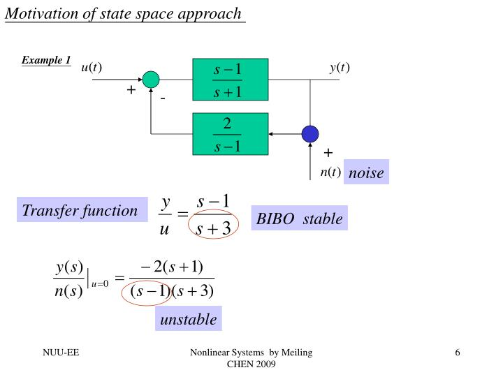 Motivation of state space approach