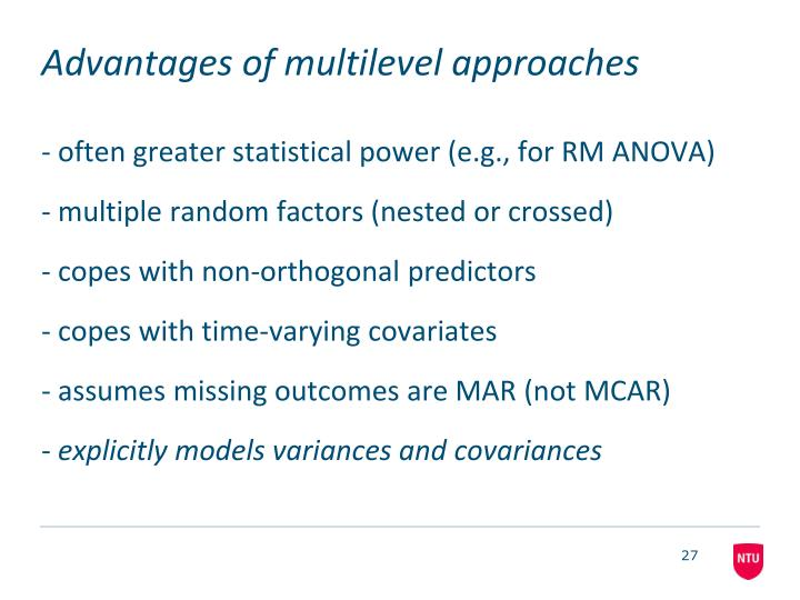 Advantages of multilevel approaches