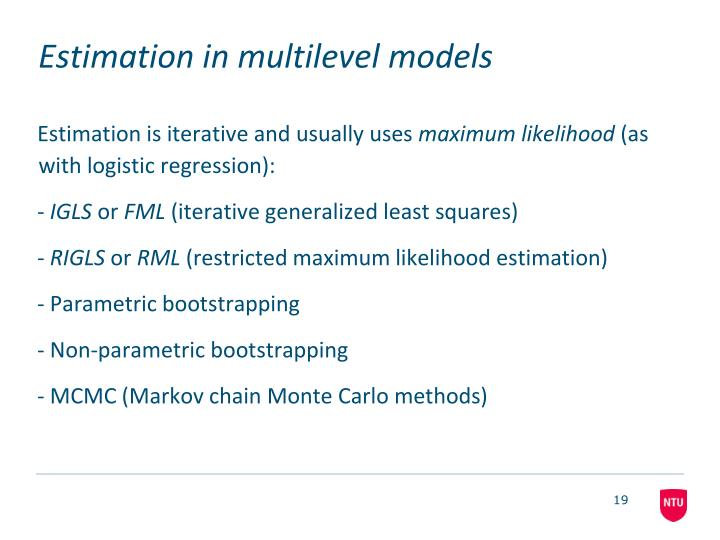 Estimation in multilevel models