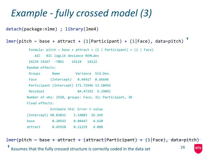 Example - fully crossed model (3)