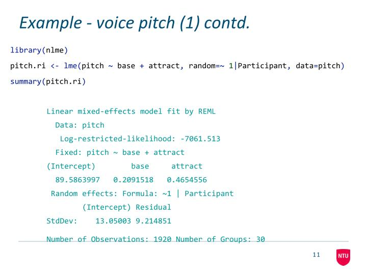 Example - voice pitch (1) contd.