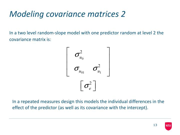 Modeling covariance matrices 2