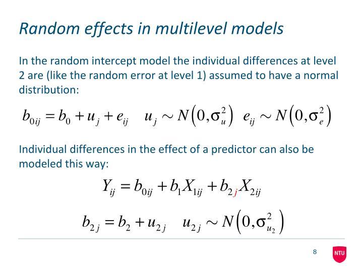 Random effects in multilevel models