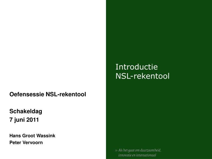 Introductie nsl rekentool