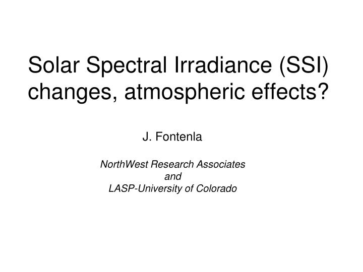 solar spectral irradiance ssi changes atmospheric effects