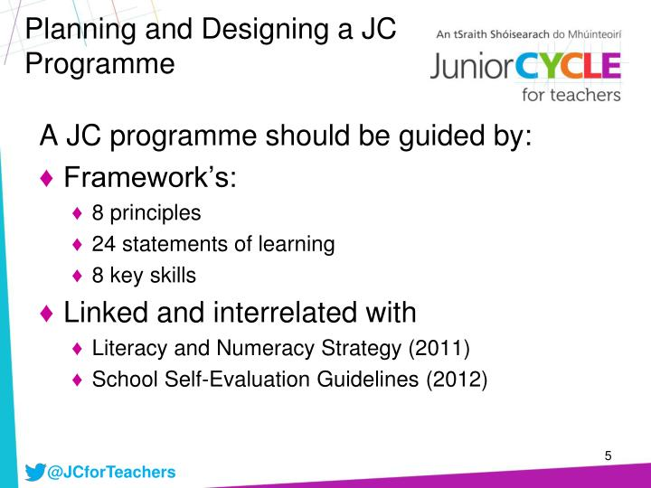 Planning and Designing a JC Programme