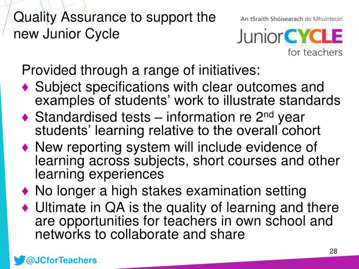 Quality Assurance to support the new Junior Cycle