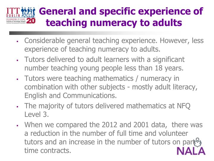 General and specific experience of teaching numeracy to adults