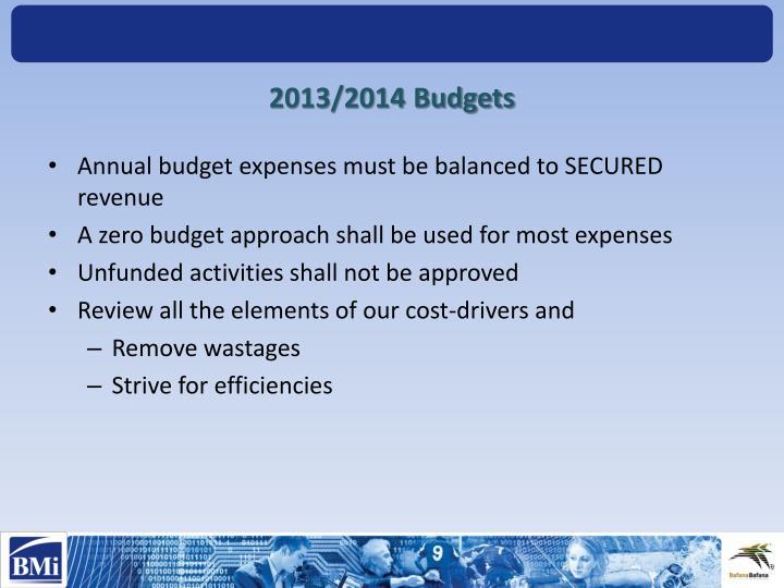 2013/2014 Budgets