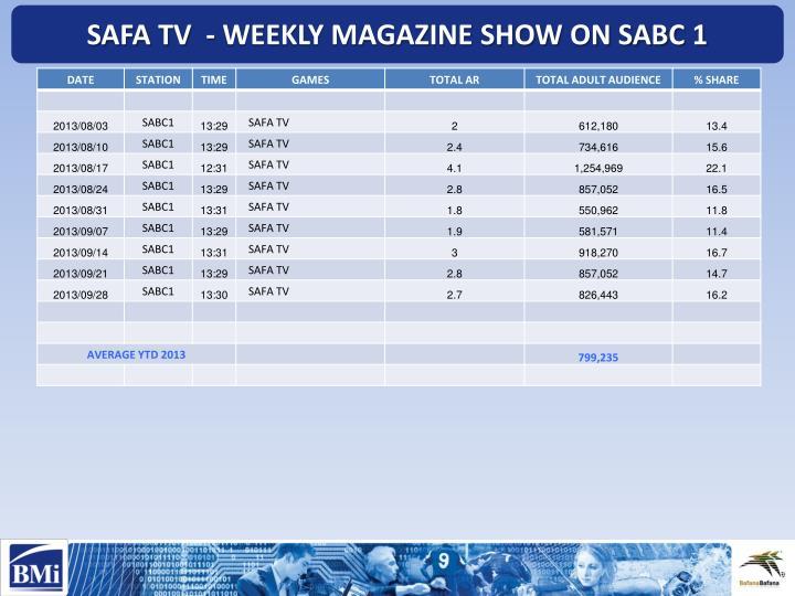 SAFA TV  - WEEKLY MAGAZINE SHOW ON SABC 1