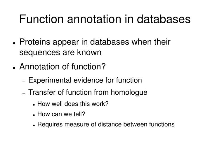 Function annotation in databases
