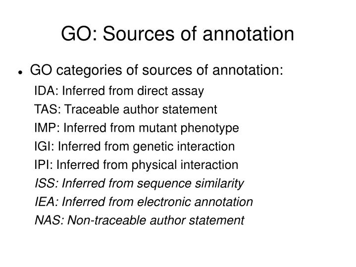 GO: Sources of annotation