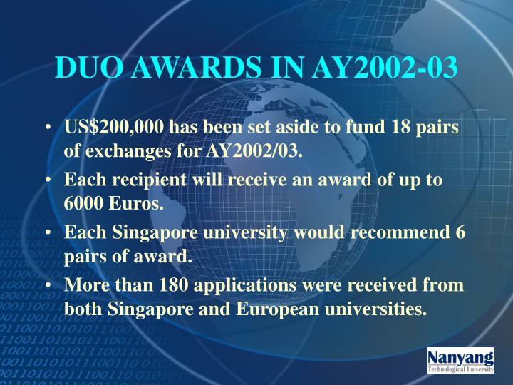 DUO AWARDS IN AY2002-03