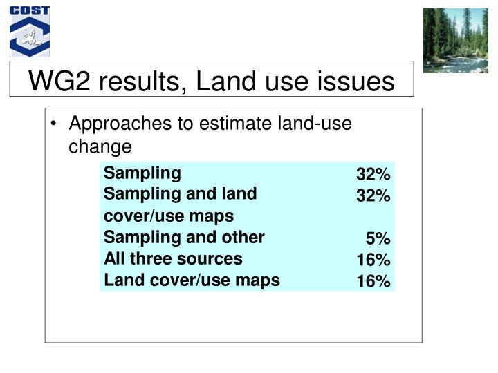WG2 results, Land use issues