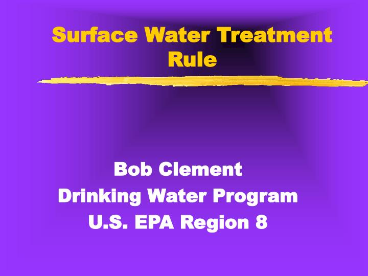surface water treatment rule n.