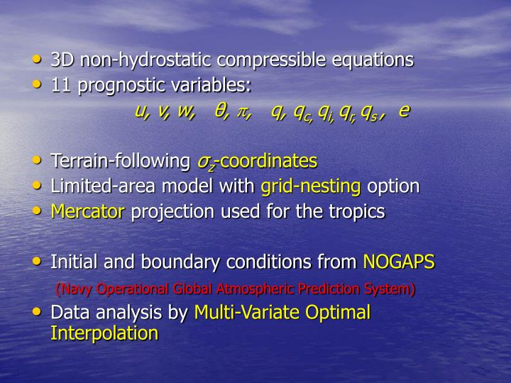 3D non-hydrostatic compressible equations
