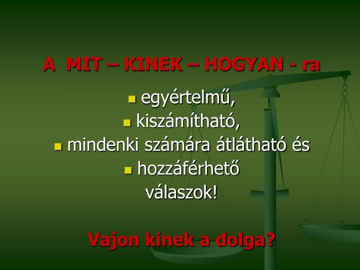 A  MIT – KINEK – HOGYAN -