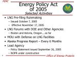 energy policy act of 2005 selected activities