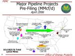 major pipeline projects pre filing mmcf d april 2006