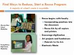 find ways to reduce start a reuse program a majority of school s waste is recyclable
