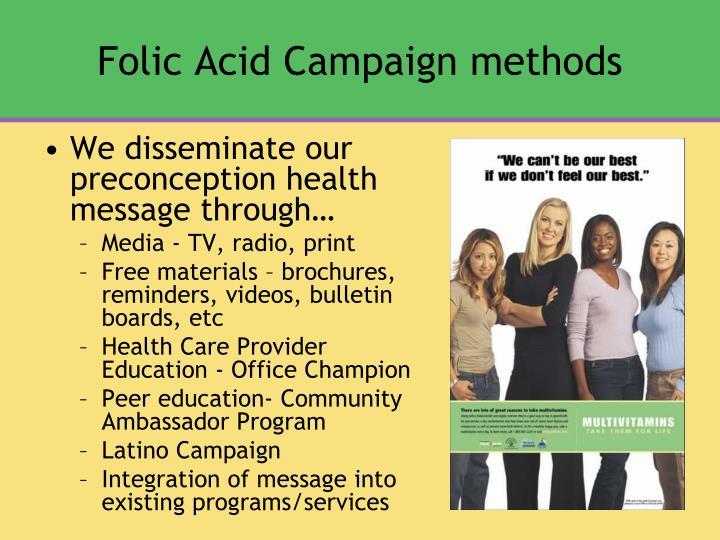 Folic Acid Campaign methods
